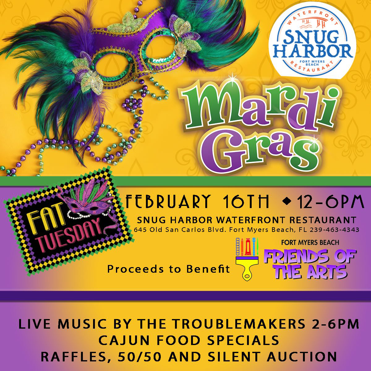 FOA Mardi Gras -snug harbor-to benefit Friends of the Arts on Fort Myers Beach